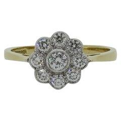 18 Karat Yellow and White Gold Diamond Daisy Art Deco Style Cluster Ring