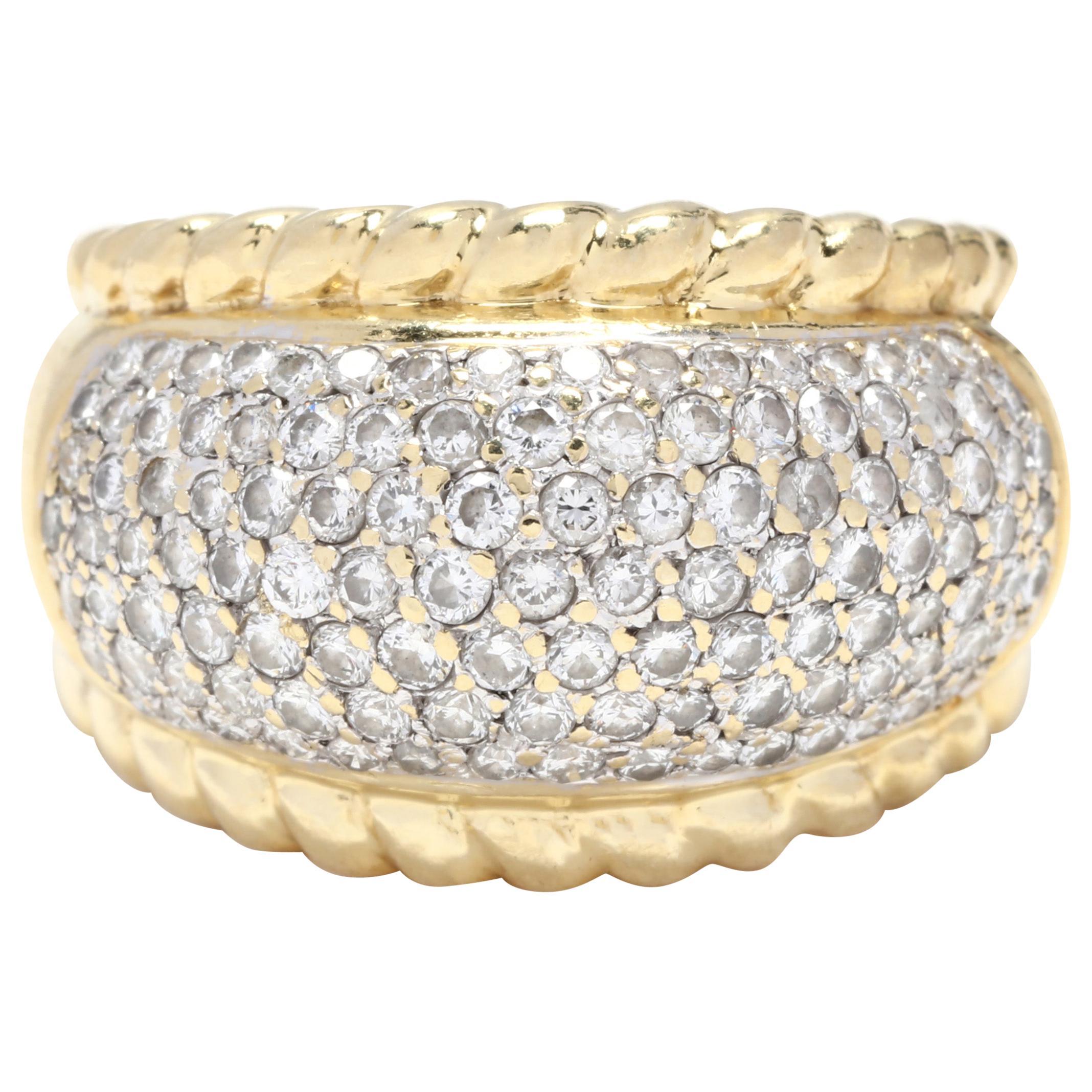 18 Karat Yellow and White Gold Diamond Dome Ring