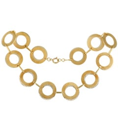 18 Karat Yellow and White Gold Diamond Double Circle Link Collar Necklace