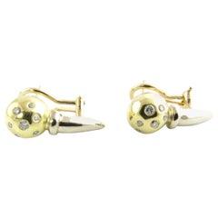 18 Karat Yellow and White Gold Diamond Earrings