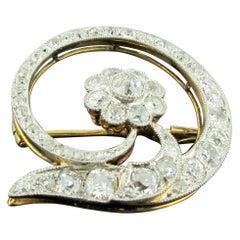 18 Karat Yellow and White Gold Diamond Flower Brooch