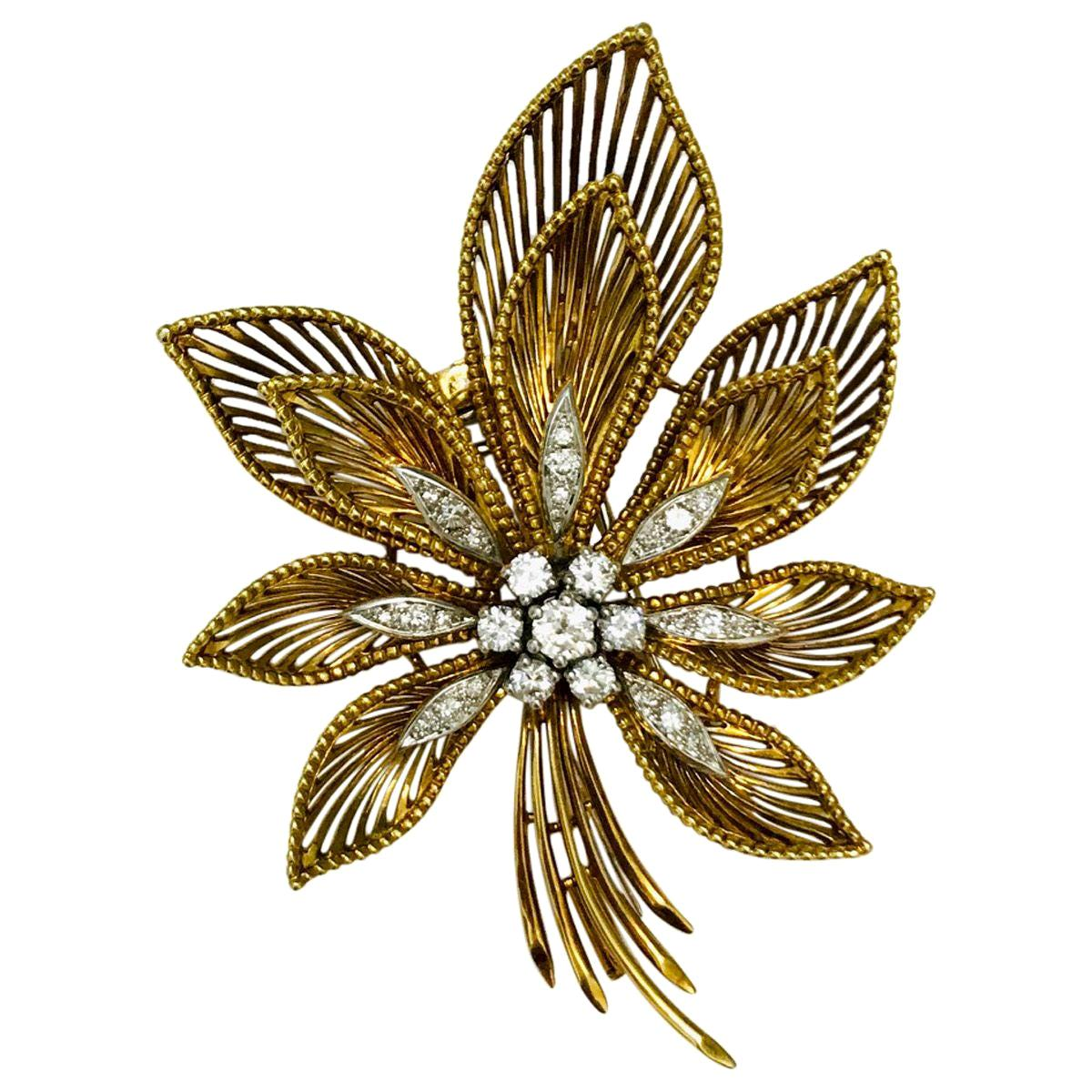 18 Karat Yellow and White Gold Diamond Flower Clip Brooch