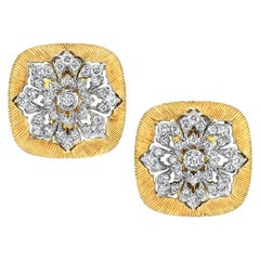 Diamond and 18k Yellow and White Gold French Clip Earrings