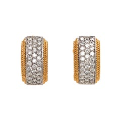 18 Karat Yellow and White Gold Diamond Huggie Earrings