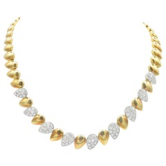 18 Karat Yellow and White Gold Diamond Necklace Choker