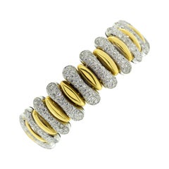 18 Karat Yellow and White Gold Diamond Pave Fashion Statement Bracelet