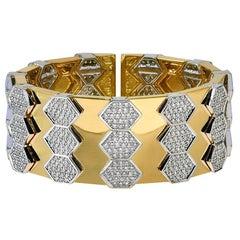 18 Karat Yellow and White Gold Diamond Spring Bangle Bracelet