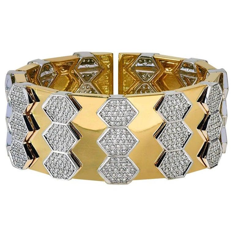 18 Karat Yellow and White Gold Diamond Spring Bangle Bracelet For Sale