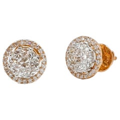 18 Karat Yellow and White Gold Diamond Studs