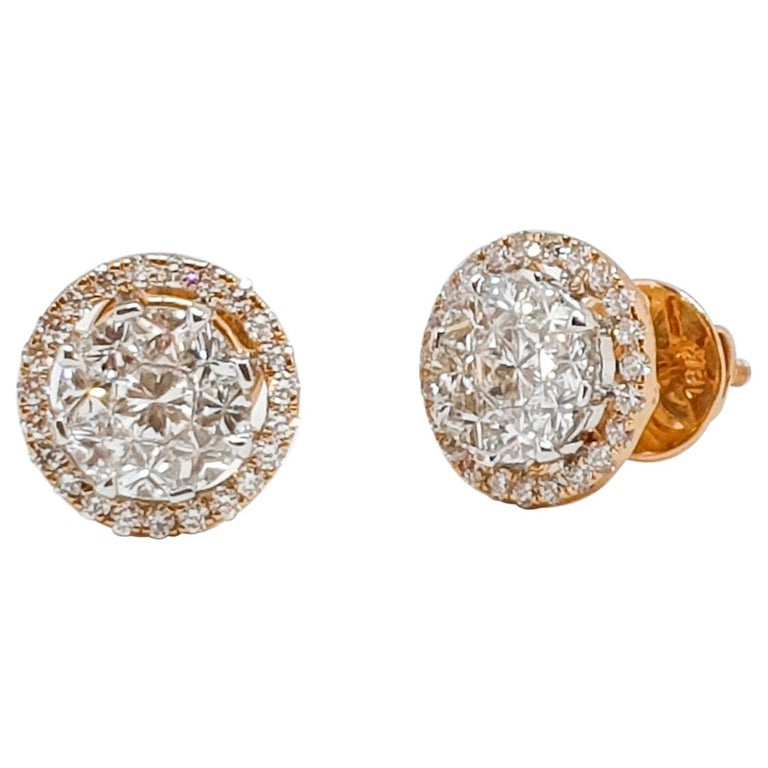 18 Karat Yellow and White Gold Diamond Studs For Sale