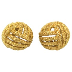 18 Karat Yellow and White Gold Earclips by Gubelin