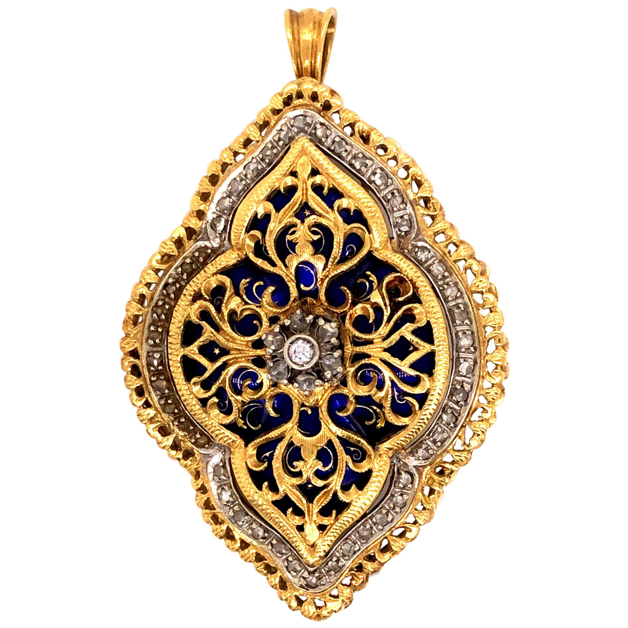 18 Karat Yellow and White Gold Enamel Rose Cut Diamond Brooch Pendant