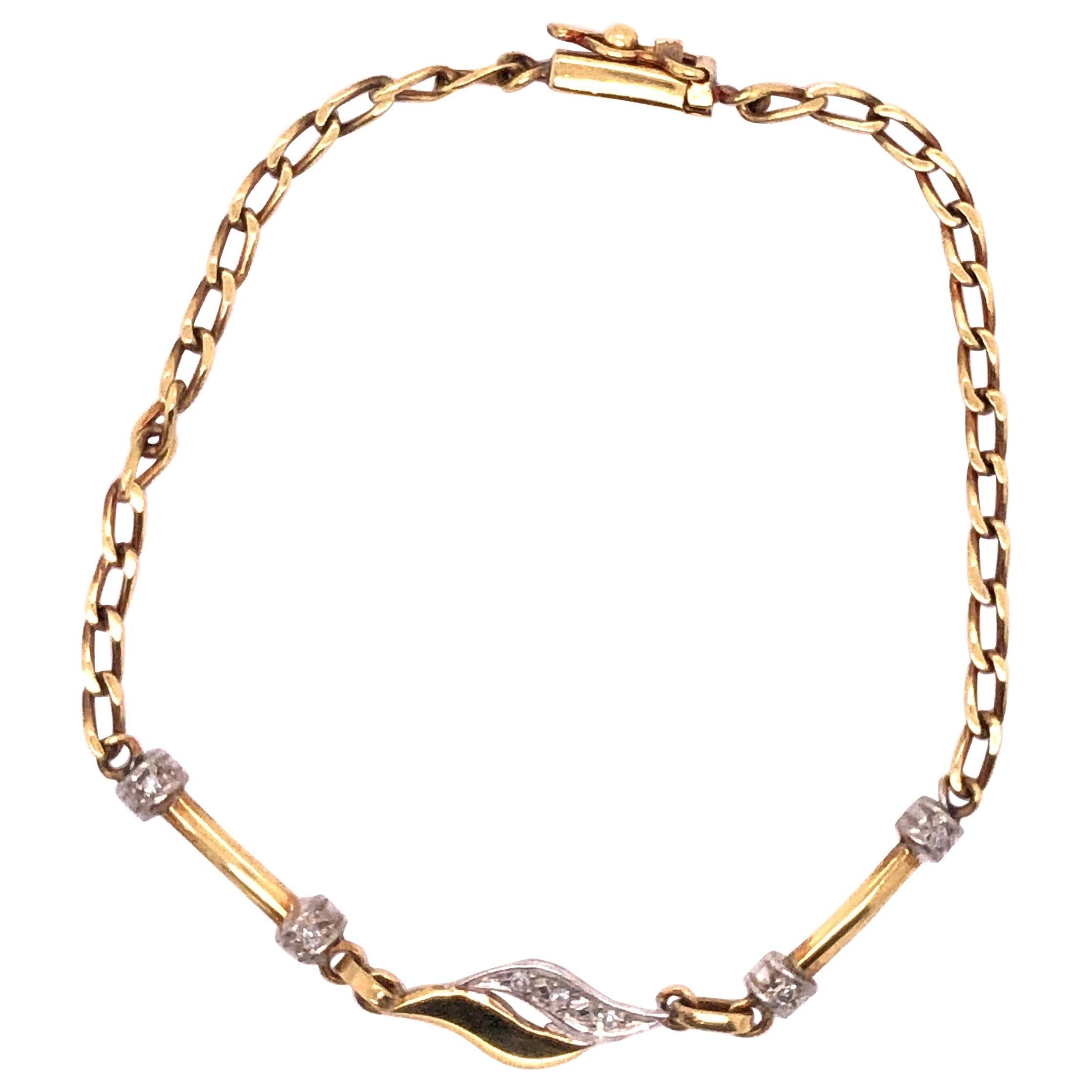 18 Karat Yellow and White Gold Fancy Link Bracelet