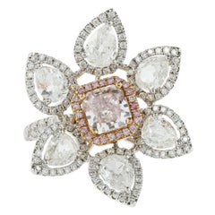 18 Karat Yellow and White Gold Flower Motif Fancy Pink Diamond Ring
