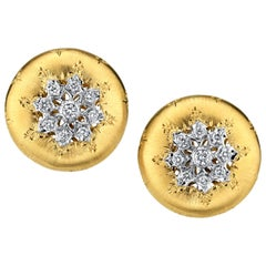 Florentine Diamond, Yellow & White Gold French Clip Round Post Earrings