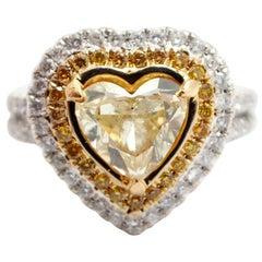 18 Karat Yellow and White Gold Heart Diamond 1.81 Carat Fancy Yellow Ring