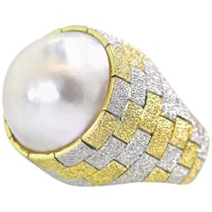 18 Karat Yellow and White Gold Holding a Large Cultured Mabe Pearl, circa 1965