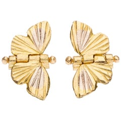 18 Karat Yellow and White Gold Inlay Tiny Asterope Hinge Butterfly Earrings