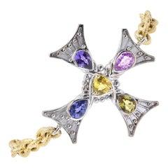 18 Karat Yellow and White Gold Multicolored Sapphire Maltese Cross Bracelet