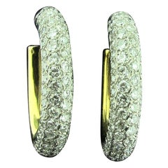 18 Karat Yellow and White Gold Pave Diamond Hoop Earrings with 10.00 Carat