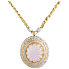 18 Karat Yellow and White Gold Pink Tourmaline Oval Pendant Necklace