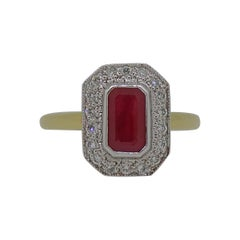 18 Karat Yellow and White Gold Ruby and Diamond Art Deco Style Cluster Ring