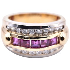 18 Karat Yellow and White Gold Ruby and Diamond Channel Set Ring