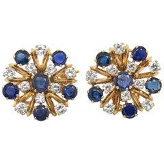 18 Karat Yellow and White Gold Sapphire and Diamonds Day Night Earrings