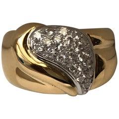 """18 Karat Yellow and White Gold """"Virgola"""" Ring with Diamonds"""