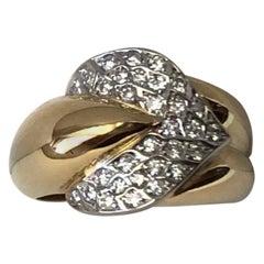 18 Karat Yellow and White Gold with 0.46 Carat Diamonds Ring
