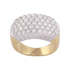 18 Karat Yellow and White Gold with a 0.70 Carat Pavé Diamond Band Ring