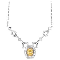 18 Karat Yellow and White Gold with Fancy Yellow Diamond Necklace