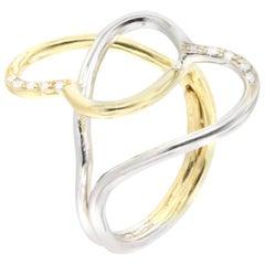 18 Karat Yellow and White Gold with White Diamonds Ring