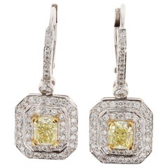 18 Karat Yellow and White 'halo' Diamond Drop Earrings