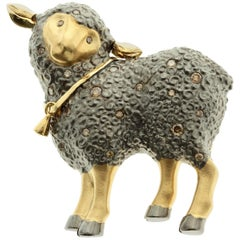 Diamond 18 Karat Yellow Black Gold Sheep Brooch
