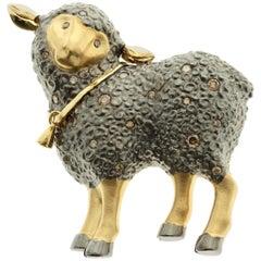 18 Karat Yellow Black Gold Diamond Sheep Brooch