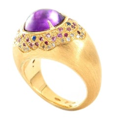 18 Karat Yellow Brushed Gold Amethyst, Ruby and Diamond Cocktail Ring