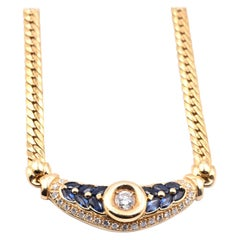 18 Karat Yellow Diamond and Sapphire Necklace