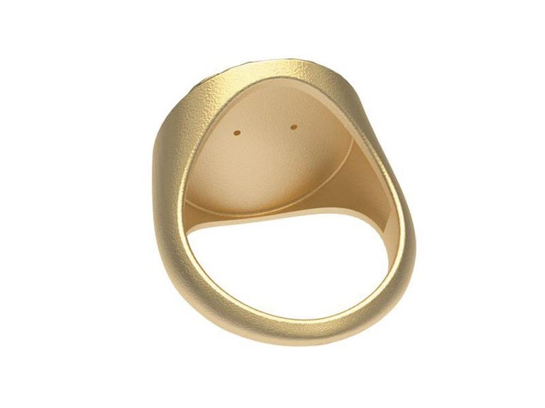Contemporary 18 Karat Yellow GIA Diamond Lion Head Signet Ring For Sale