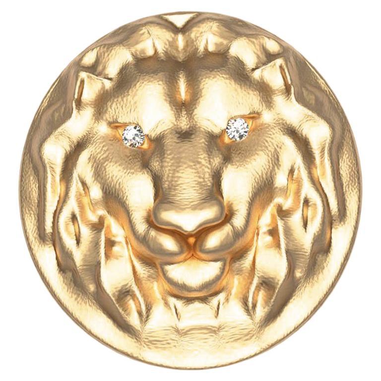 18 Karat Yellow GIA Diamond Lion Head Signet Ring For Sale