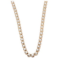 14 Karat Yellow Diamond Tennis Necklace
