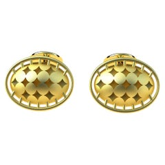 18 Karat Yellow Domed Star Cufflinks