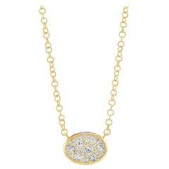 18 Karat Yellow Eclectic Diamond Pave Pendant Necklace