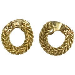 18 Karat Yellow French Gold Georges L'enfant Circular Ear Clips