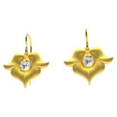 18k  Yellow Gold  GIA Diamond Arabesque Flower Earrings