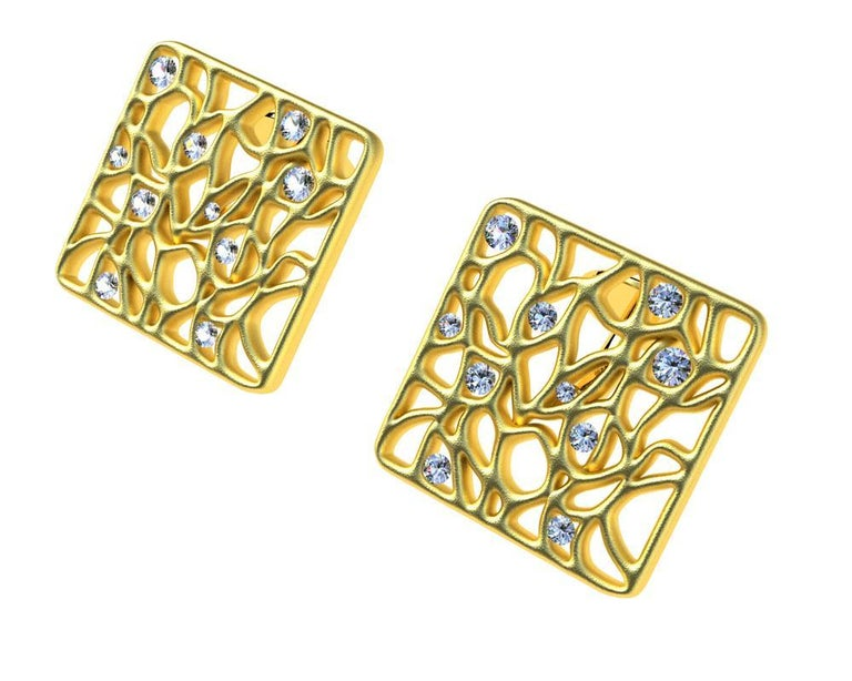 18 Karat Yellow GIA Diamond Cufflinks,