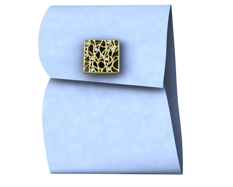 18 Karat Yellow GIA Diamond Cufflinks For Sale 1