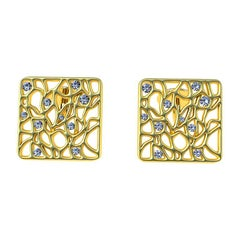 18 Karat Yellow GIA Diamond Cufflinks