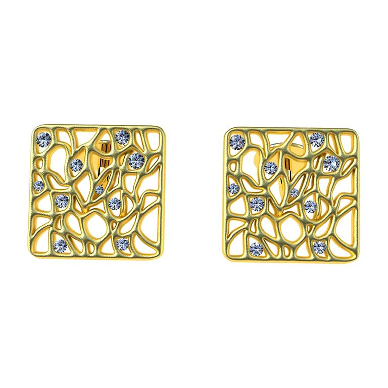 18 Karat Yellow GIA Diamond Cufflinks For Sale