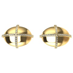 18 Karat Yellow GIA Diamond Dome Cross Cufflinks